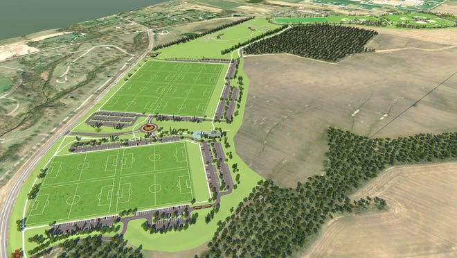 Visual rendering shows the 128-acre plot of land that the Warren County Sports Park will rest on