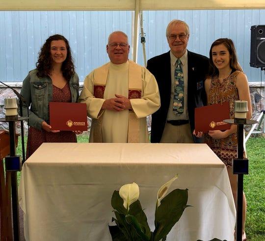 (Left to right) Jessica Brynildsen, Rev. Richard Rusk Pastor, St. John Neumann Church, Knight Steve Bauernfeind and Madison D'Avilla