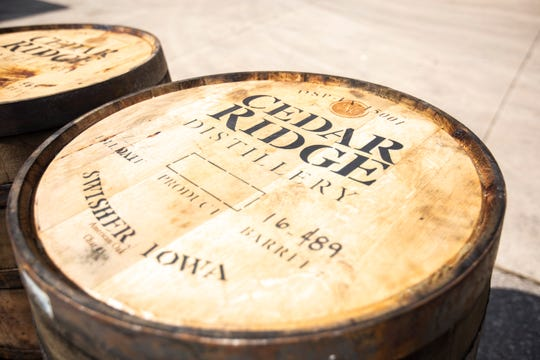 Barrels are pictured, Thursday, June 20, 2019, at Cedar Ridge Winery and Distillery in Swisher, Iowa.