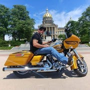 Tony Rushing's Harley Davidson FLTRXS Road Glide had a recognizable specialty-colored hard candy gold flake finish.