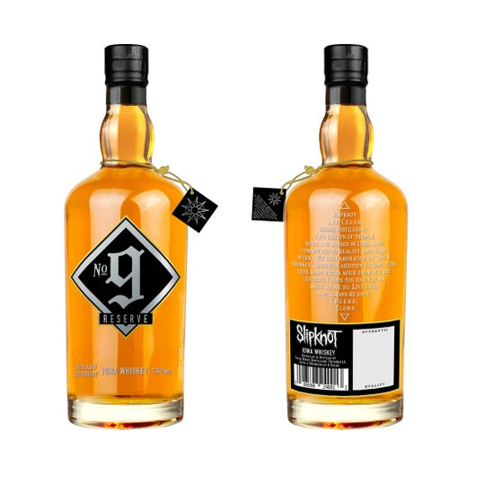 A collaboration with Des Moines heavy metal band, Slipknot, and the Iowa-based Cedar Ridge Distillery, has produced No. 9 Reserve Iowa Whiskey (99 proof) will retail for $69.99. The whiskey is made with corn from the award-winning distillery's family farm in Winthrop, Iowa.