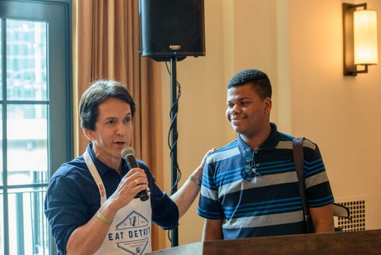Mitch Albom and Kervens Pierre of Haiti addressed the VIP crowd at the Shinola Hotel prior to the new Eat Detroit event in downtown and Midtown Detroit on June 19. 2019.