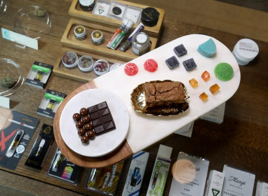Some of the edibles on Thursday, June 20, 2019 that Botaniq, a medical marijuana dispensary in Detroit, Michigan has on display for marijuana card carrying customers to see.Botaniq, co-owned by Annette Sarfoh, is one of a small number of licensed minority business in the growing in marijuana market in the state of Michigan.
