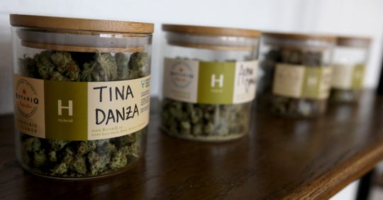 Tina Danza marijuana buds are just one of a variety sold inside Botaniq, a medical marijuana dispensary in Detroit, Michigan on Thursday, June 20, 2019.Botaniq, co-owned by Annette Sarfoh, is one of a small number of licensed minority business in the growing in marijuana market in the state of Michigan.