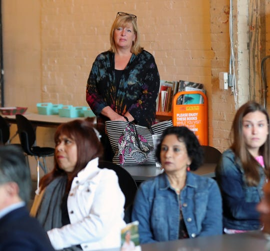 Mary Anne Carter, the acting chair of the National Council for the Arts listens to a presentation during her visit MOCAD in Detroit Thursday, June 20, 2019.