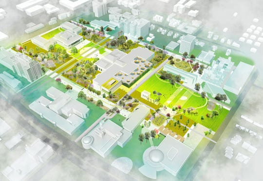 Rendering shows the conceptual design for Detroit Square, the winning idea to unify Detroit's cultural district.