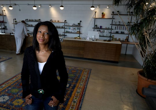 Botaniq, co-owned by Anqunette Sarfoh inside her medical marijuana dispensary in Detroit, Michigan on Thursday, June 20, 2019.  Botaniq is one of a small number of licensed minority business in the growing in marijuana market in the state of Michigan.