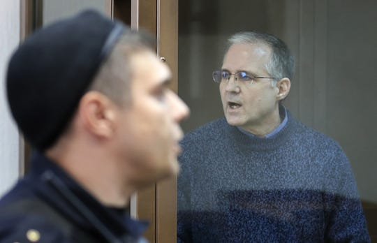 Accused spy Paul Whelan, right, as seen prior to a hearing in Moscow City Court on June 20, 2019, where he appealed the extension of his detention. Whelan, a citizen of the United States, Britain, Canada and Ireland, was detained on suspicion of spying by Russian Federal Security Service (FSB) in December in Moscow.