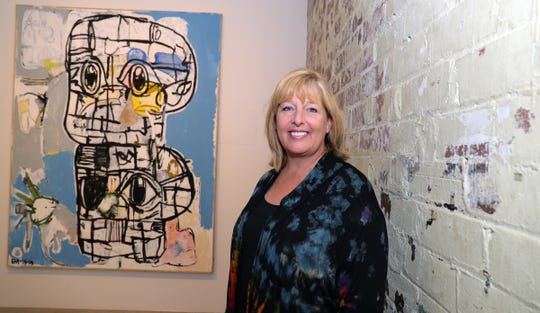 National Endowment for the Arts acting chair Mary Anne Carter visited MOCAD in Detroit and toured exhibits Thursday, June 20, 2019.