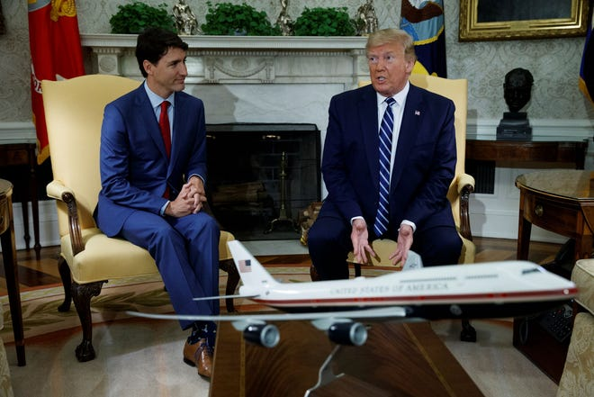 President Donald Trump meets with Canadian Prime Minister Justin Trudeau in the Oval Office of the White House, Thursday, June 20, 2019, in Washington.