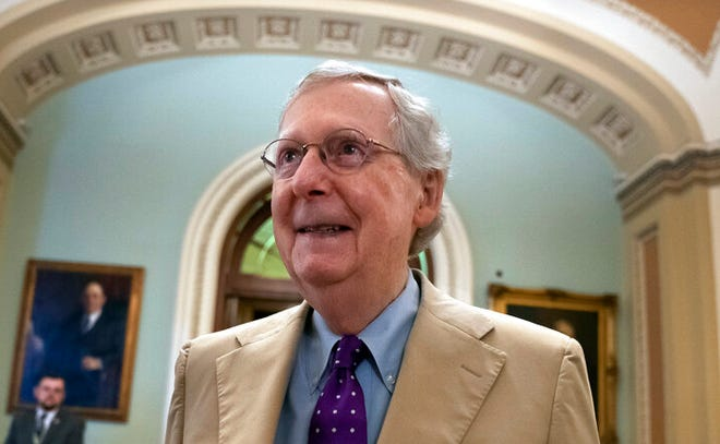 Senate Majority Leader Mitch McConnell, R-Ky., departs the chamber after appealing for lawmakers to vote against more than a dozen resolutions aimed at blocking the Trump administration's sale of weapons to Saudi Arabia, at the Capitol in Washington, Thursday, June 20, 2019.