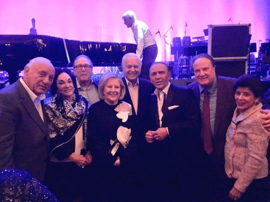 L-r, Dr. Leonard Abronovitz, Frances Eisenberg, Kenneth Eisenberg, Madeline Forbes, Sidney Forbes, Bob Anderson, Joe Vicari, Eleanor Abronovitz at Frank Sinatra tribute.
