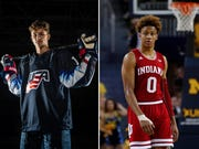 Trevor Zegras, left, is a creative, play-making forward from the U.S. National Team Development Program. Romeo Langford is a 6-foot-6 scorer with superior talent who struggled shooting his one season at Indiana partly because of a torn thumb ligament.