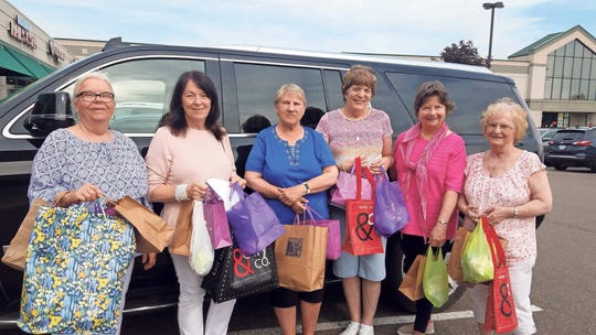 The pals on their two-day 'yarn crawl' along I-75,  from left, Joyce Ford, Mierial Gage, Betty Robinson, Pat Sabedra, Sue Paige and Elaine Ouellette.