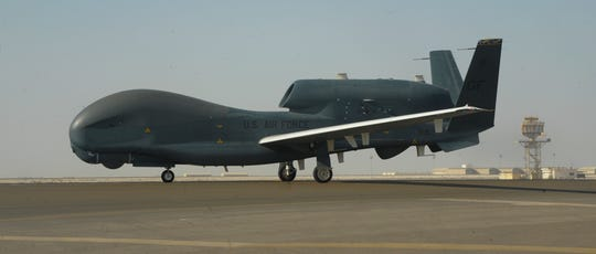An RQ-4 Global Hawk on the tarmac of Al-Dhafra Air Base near Abu Dhabi, United Arab Emirates.
