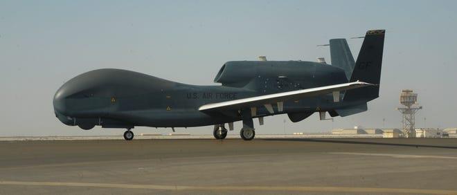 An RQ-4 Global Hawk on the tarmac of Al-Dhafra Air Base near Abu Dhabi, United Arab Emirates.