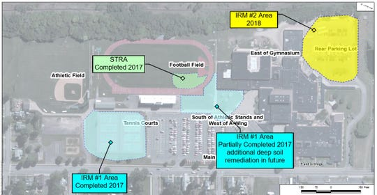 A map of IRM #1 and #2 that have been completed on the EHS campus. IRM #3 will include the additional deep soil remediation in the area of IRM #1.