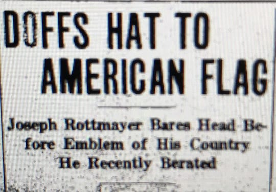 A headline in the 1917 edition of the Evansville Courier. A local German immigrant was forced to pledge loyalty to the U.S. during World War I.