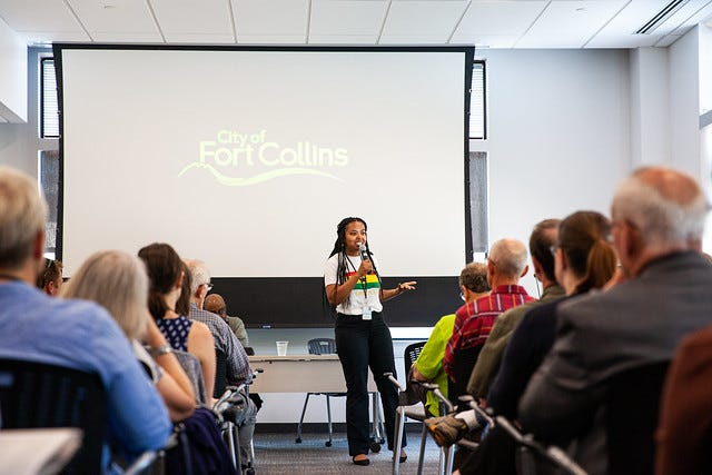 Kendra Radford, director of safety, security and risk management for the city of Fort Collins, speaks during a community discussion Wednesday on what it's like to be a person of color in Fort Collins.