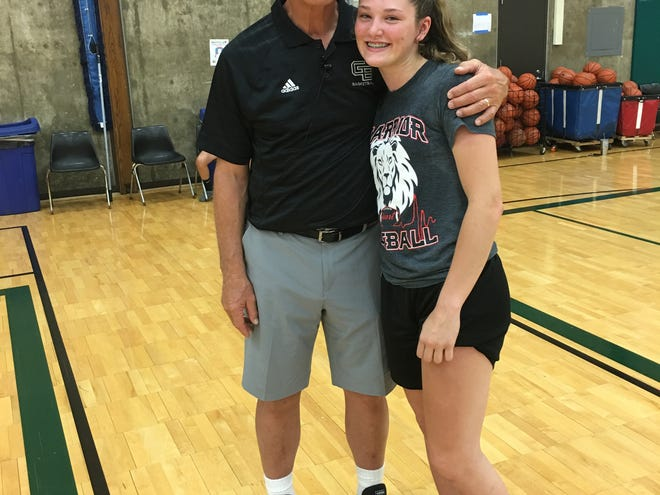 Black Hawk point guard Bailey Butler with University of Wisconsin-Green Bay women's coach Kevin Borseth. Butler has given a verbal commitment to the Phoenix.