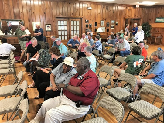 Piedmont residents gather for a community meeting Wednesday night, June 19, 2019, at the Piedmont Community Building in southern Greenville County to learn more about a 147-home subdivision on Furr Road. The mood of the meeting was hostile as residents argued the houses would threaten their rural way of life.