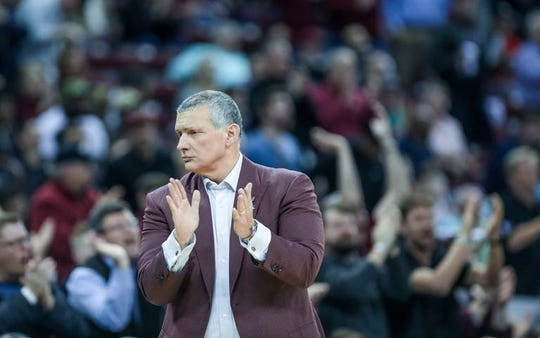 Coach Frank Martin applauds his team Feb. 26, 2019, during the second half of action against Alabama in the Colonial Life Arena.