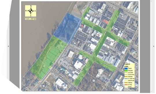 This map shows the Central Business District of downtown Henderson. In blue is Audubon Mill Park and the section of Water Street it front of it, which are currently designated as the areas downtown where you can seek a permit to hold a special event involving alcohol. The areas in green on the map are areas where such events could also be held if a proposed measure clears the Henderson City Commission.