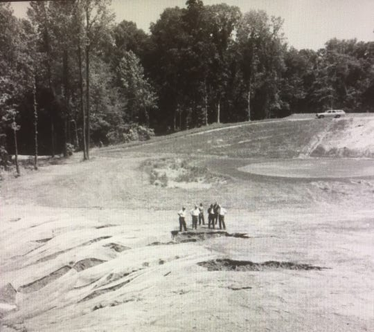 A group of state officials inspected the golf course at Audubon State Park May 18, 1967, after April rains eroded large gullies in the fairways despite the placement of protective mesh. Among the state officials at the scene were Bill Montgomery, state parks director of maintenance and engineering; Roy McCawley, director of the state parks system's golf courses; Jesse Brown, Audubon State Park superintendent; and Ed James, greens keeper for the course, which didn't open until June 26, 1969.