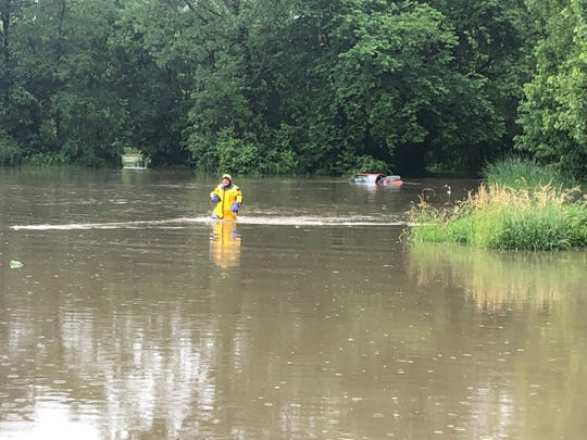 A photo from Carmel Fire Department shows a flooded Meadowland Park, Carmel, Wednesday, June 19,  2019.