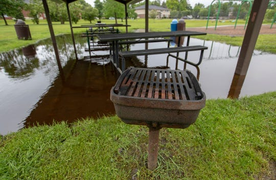 Meadowland Park in Carmel still had plenty of water on June 20, 2019, a day after a flash flood in the area.