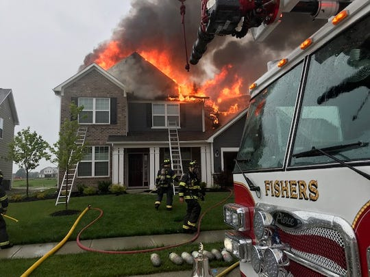 A Fishers home caught fire after lightning struck it on June 19, according to the Fishers Fire Department.