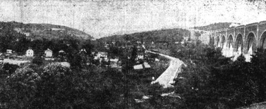 An overview of the Nicholson Viaduct and the Lackawanna Trail in 1922.