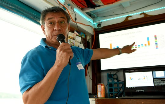 Jose Lozano, director of the Ithaca Area Waste Water Treatment Facility, discusses the pollutants found in Cayuga Lake during a cruise on the MV Teal boat. June 19, 2019.