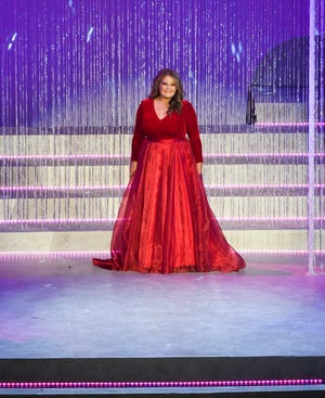 Miss UT-Martin Amanda Mayo walks the runway during the 2019 Miss Tennessee Scholarship Pageant evening wear preliminary Wednesday, June 19, at the Carl Perkins Civic Center.