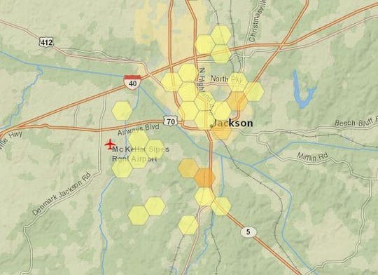 Around 500 Jackson Energy Authority customers are without power after storms caused damage to lines Thursday morning.