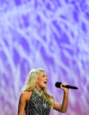 Miss Queen City Noelle Thompson performs during the 2019 Miss Tennessee Volunteer Scholarship Pageant talent preliminary, Wednesday, June 19, at the Carl Perkins Civic Center.