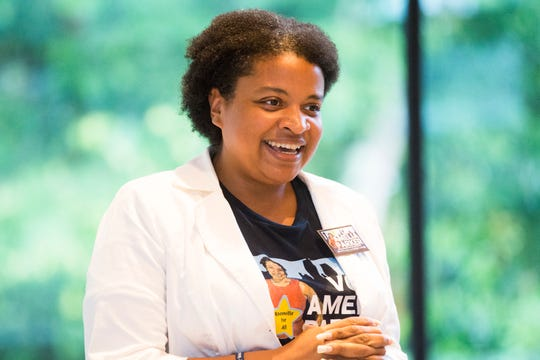 Amelia Parker is running for city council and speaks at a forum held by the East Knoxville Business and Professional Association, at the Knoxville Botanical Gardens, Thursday, June 20, 2019.