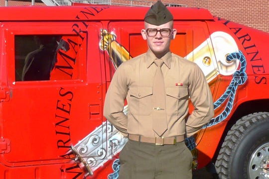 "This January 2009 photo provided by Charlene Bigelow shows her son, Devin Lynch, during his Marine graduation from Parris Island, S.C. In February 2016, Lynch had gotten drunk and attempted suicide. He was arrested the same day on charges alleging he sexually assaulted his girlfriend and was jailed awaiting trial. He suffered from depression and anxiety and had post-traumatic stress disorder after serving with the Marines for almost eight years, including deployments to Afghanistan and Japan on a mission to collect human remains after the 2011 tsunami, according to his mother and court records. Bigelow believes her son's death was preventable and hopes her lawsuit helps ensure suicide-prevention policies are carried out. Her son, she says, ""would want to hope that his story would make a difference in somebody else's life."" (Charlene Bigelow via AP)"