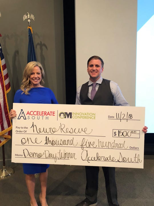 Brittany Soeder and Robert Maher after winning Lafayette's 2018 Accelerate South, where they gained many local investors.