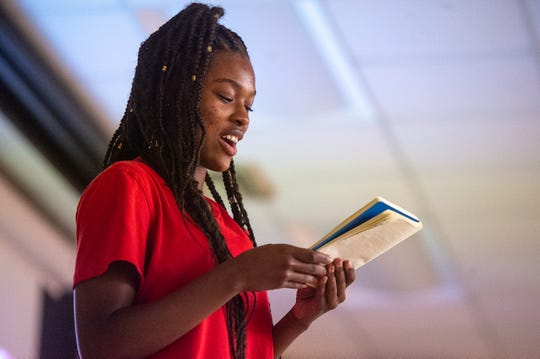 """Rickasha Montgomery performs during the """"2019 Improving the Blank Page: Character Matters Summer Writing Camp."""" The two-week camp culminated in a showcase of original performances Thursday at the H. L. Griffin Auditorium on the University of Louisiana at Lafayette campus. Thursday, June 20, 2019."""