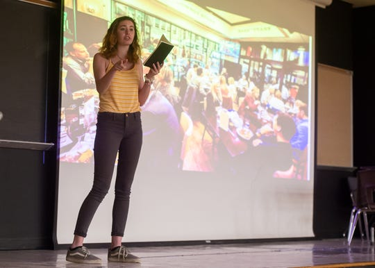 """Masie Minnick  performs during the """"2019 Improving the Blank Page: Character Matters Summer Writing Camp."""" The two-week camp culminated in a showcase of original performances Thursday at the H. L. Griffin Auditorium on the University of Louisiana at Lafayette campus. Thursday, June 20, 2019."""