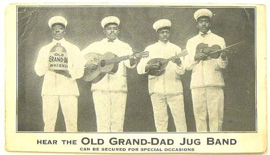 This image from 1915 shows the Louisville Jug Band, a group of African American musicians, were hired as brand ambassadors by Old Grand Dad Bourbon to promote the brand.