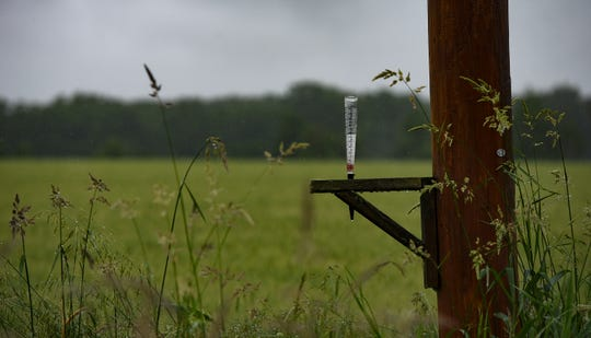 A rain gauge attached to a post near a rural Alaiedon Township field, pictured June 20, 2019,