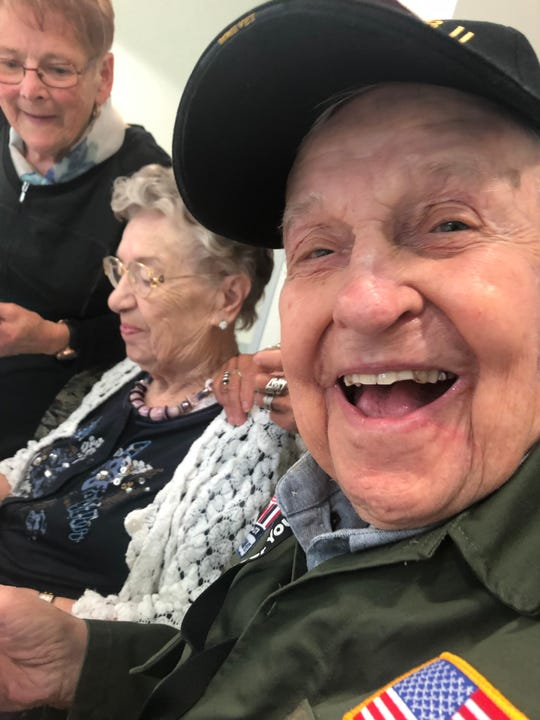 K.T. Robbins and Jeannine Ganaye spent about two hours together after being apart for 75 years. They fell in love during World War II, but Robbins' service sent him to the front lines and they lost touch.