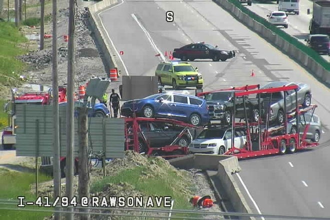 A truck that hauls cars crashed Thursday afternoon on I-94/41 at Rawson Avenue. Crews closed all northbound lanes after the crash.