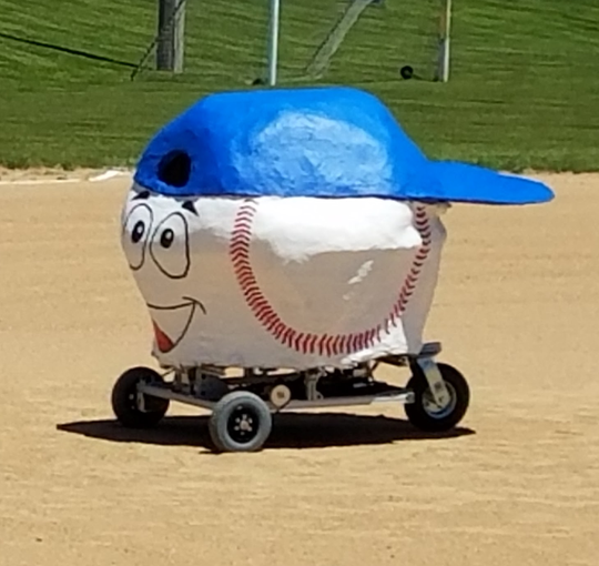 """""""Stitch,"""" a robot created by Arrowhead High School students, will throw out the first pitch at the Milwaukee Brewers game June 21 at Miller Park. Stitch also threw out the first pitch at a game last year."""