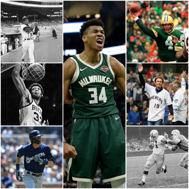 Wisconsin MVPs have included (counterclockwise from upper left) Hank Aaron, Kareem Abdul-Jabbar, Christian Yelich, Giannis Antetokounmpo, Jim Taylor, Robin Yount and Rollie Fingers and Brett Favre.