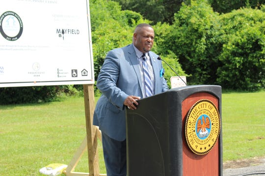 Councilman Kenneth Wilson speaks at a press conference Thursday regarding the Preservation mills community. Twenty-three new single-family homes will be constructed along South Third and South Fourth Streets as part of a $3.5 million neighborhood revitalization initiative.