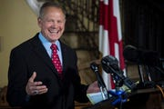 Former Alabama Chief Justice Roy Moore announces his senate campaign in downtown Montgomery, Ala. on Thursday, June 20, 2019.