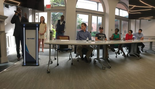 Local business and tech leaders share their experiences at a May town hall at MGMWERX in Montgomery.